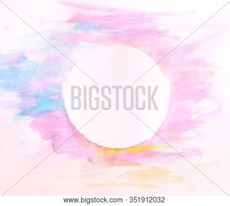 Soft Watercolor Background Paint By Brush With Circle Space In Middle