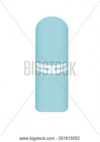 Feminine Tampon, White Tampon With Blue Thread. Tampon In Plastic Pack, Swab With Applicator. Menstr