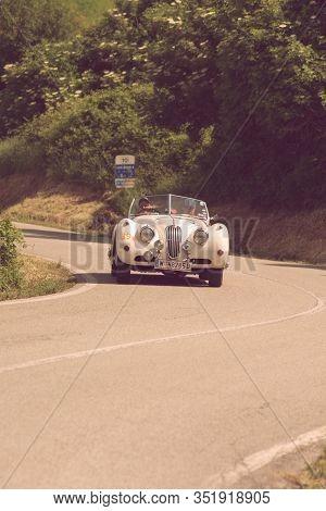 Pesaro Colle San Bartolo , Italy - May 17 - 2018 : Jaguar Xk 140 Ots 1955 On An Old Racing Car In Ra
