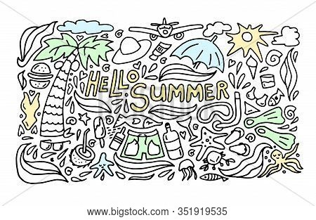 Summer Black Hand Drawn Thin Line Postcard Isolated On White Background. Seasonal Greeting With Word