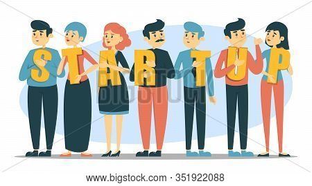 Business People Holding Letters Of The Word Startup