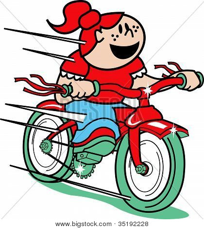 Girl Riding Bike or Bicycle Clip Art