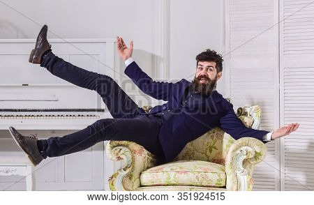 Macho Attractive And Elegant On Cheerful Face And Happy Expression. Man With Beard And Mustache Wear