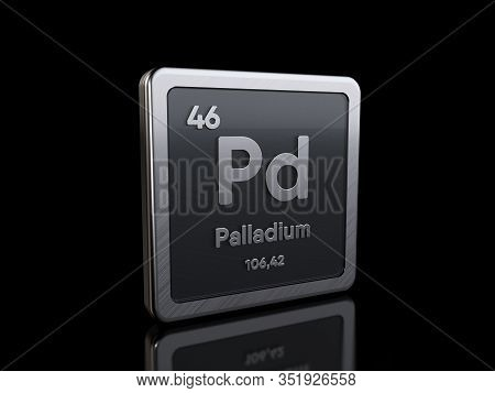 Palladium Pd, Element Symbol From Periodic Table Series. 3d Rendering Isolated On Black Background