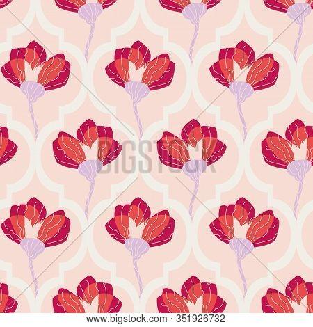 Graphic Red Flowers On Pastel Pink Trellis Ornament Seamless Vector Pattern. Decorative Boranical Su