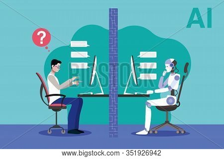 A Robot And A Scientist Facing The Turing Test. Artificial Intelligence Vector Concep Illustration.