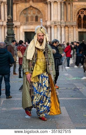 Venice, Italy - 02 08 2020: Man In Carnival Disguise In February In Venice (italy)