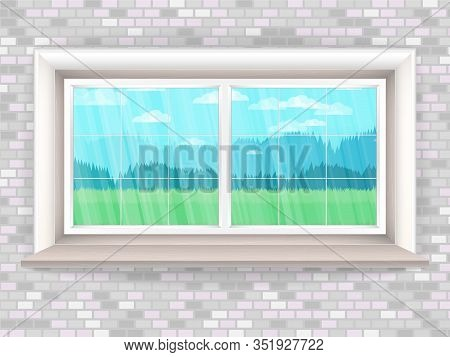 Illustration With Wooden Window In Realistic Style A Brick Wall And The Rustic Landscape Outside The
