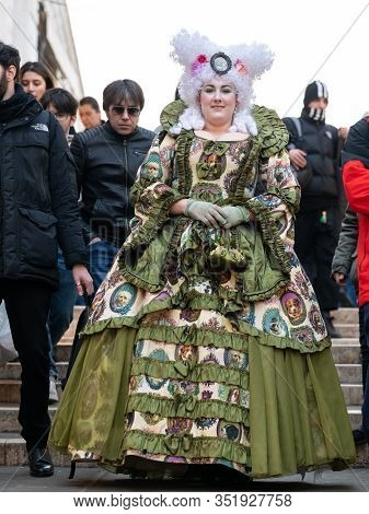 Venice, Italy - 02 08 2020: Woman In Carnival Disguise In February In Venice (italy)