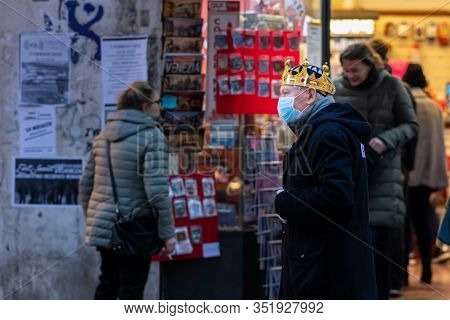 Venice, Italy - 02 08 2020: Man In Carnival Disguise And Mouth Guard Mask In February In Venice (ita