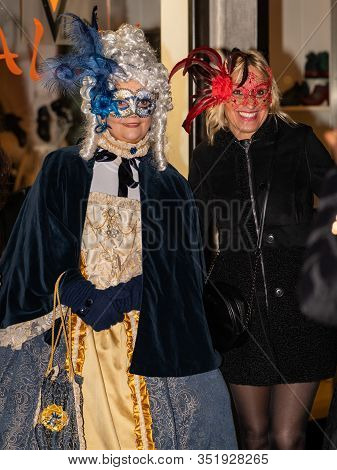Venice, Italy - 02 08 2020: People In Carnival Disguise In February In Venice (italy)
