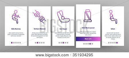 Belt Safety Equipment Onboarding Icons Set Vector. Driver Strapped Car Seat Belt, Protection Automob
