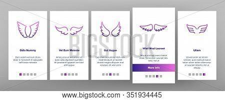 Angel Wings Flying Onboarding Icons Set Vector. Decorative Stylized Feather Flapping Angel Or Bird F