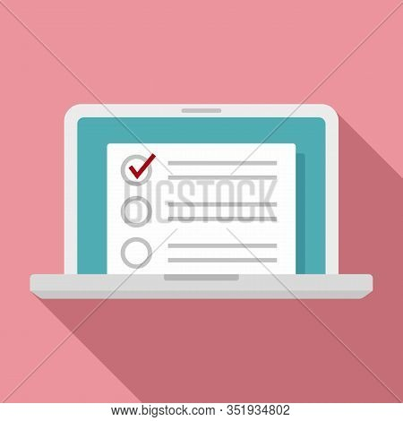 Laptop Inventory List Icon. Flat Illustration Of Laptop Inventory List Vector Icon For Web Design