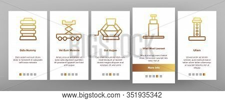 Jack-screw Equipment Onboarding Icons Set Vector. Mechanical, Hydraulic And Air Car Jack-screw, Serv
