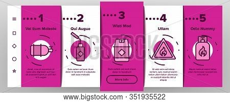 Gas Cylinder Equipment Onboarding Icons Set Vector. Gas Cylinder, Container With Flame Mark, Burner