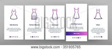 Dress Fashion Female Onboarding Icons Set Vector. Fashionable Woman Dress, Elegant And Trendy Clothe