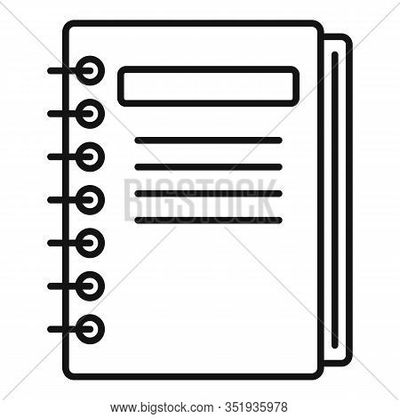 Inventory Notebook Icon. Outline Inventory Notebook Vector Icon For Web Design Isolated On White Bac