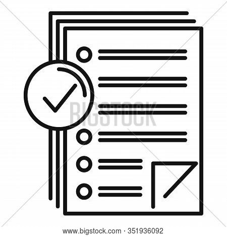 Approved Inventory Papers Icon. Outline Approved Inventory Papers Vector Icon For Web Design Isolate