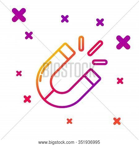 Color Line Magnet Icon Isolated On White Background. Horseshoe Magnet, Magnetism, Magnetize, Attract