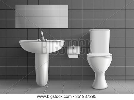 Modern Toilet Room Interior 3d Realistic Mockup. White Ceramic Toilet Bowl With Water Tank, Paper On