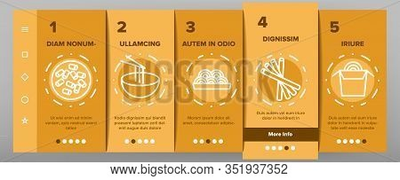 Pasta Dish Gastronomy Onboarding Icons Set Vector. Chinese Pasta In Cup With Chopsticks, Spaghetti O