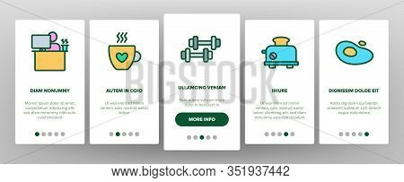 Morning Food And Tools Onboarding Icons Set Vector. Morning Coffee Cup And Breakfast, Douche And Wor