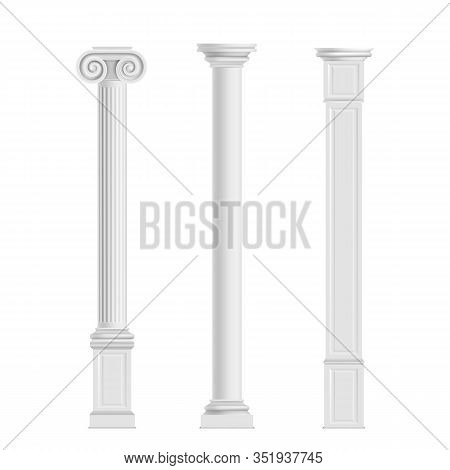 Antique Cylindrical Doric, Ionic Orders And Modern Cubic Columns Of Marble Stone 3d Realistic Isolat