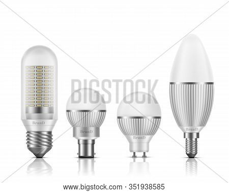 Modern, Different Shape And Base Types Led Bulbs With Heat Sinks 3d Realistic Set Isolated On White