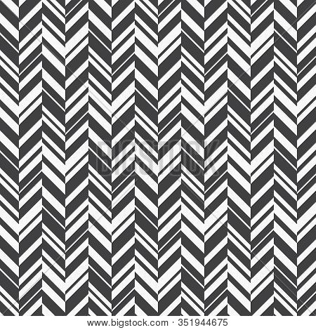 Asymmetric Herringbone Abstract Background. Black Colors Surface Pattern With Chevron Diagonal Lines
