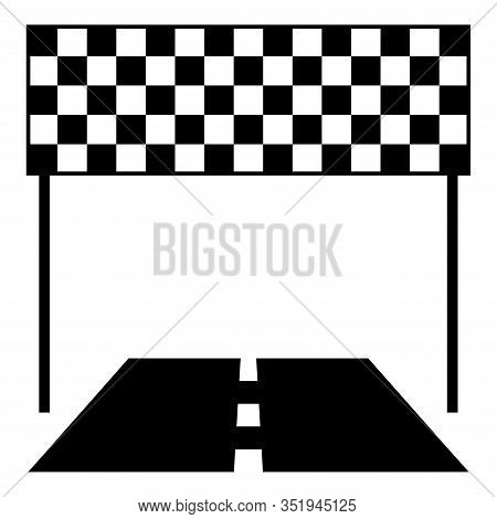 Finish And Road Line Racing Track Success Concept Finishing Icon Black Color Vector Illustration Fla