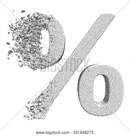 Fractured Percentage Sign Model With Disappearing Effect. Discount Concept. Dotwork Halftone Style M