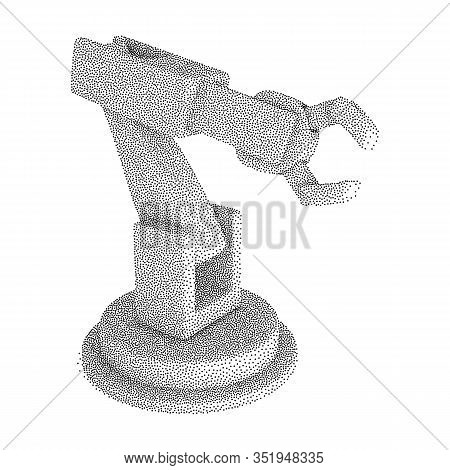 Robotic Arm Manufacture Technology Industry Assembly Mechanic Hand. Dotwork Halftone Style Monochrom