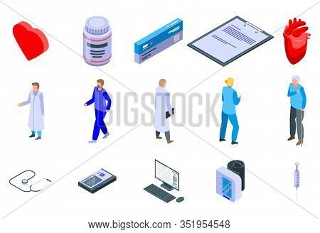 Cardiologist Icons Set. Isometric Set Of Cardiologist Vector Icons For Web Design Isolated On White