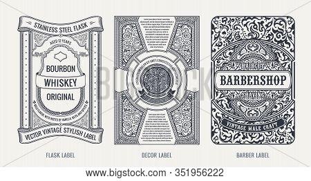 Set Of Vintage Beer Frames And Labels. Craft Premium Logos. Design Emblems On Transparent Background