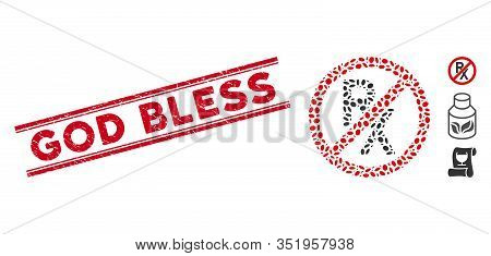 Rubber Red Stamp Seal With God Bless Text Inside Double Parallel Lines, And Mosaic No Receipt Icon.