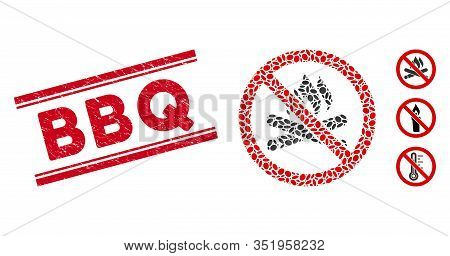 Rubber Red Stamp Watermark With Bbq Caption Inside Double Parallel Lines, And Collage No Campfire Ic
