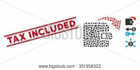 Rubber Red Stamp Watermark With Tax Included Text Inside Double Parallel Lines, And Mosaic Spend Mon