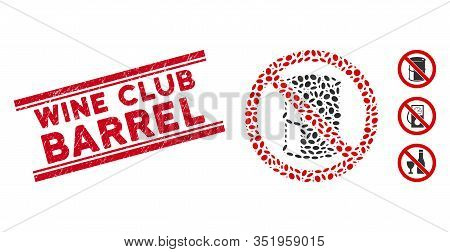 Grunge Red Stamp Seal With Wine Club Barrel Phrase Between Double Parallel Lines, And Mosaic No Barr