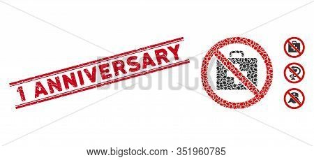Grunge Red Stamp Watermark With 1 Anniversary Caption Inside Double Parallel Lines, And Mosaic No Fi