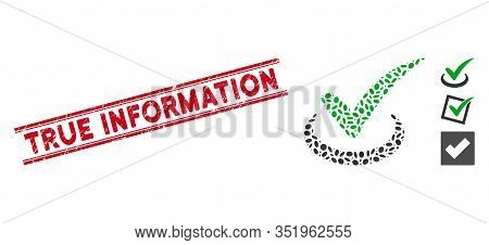 Rubber Red Stamp Watermark With True Information Caption Inside Double Parallel Lines, And Mosaic Tr