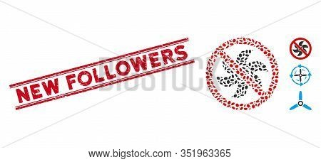 Rubber Red Stamp Seal With New Followers Caption Inside Double Parallel Lines, And Mosaic No Rotor I