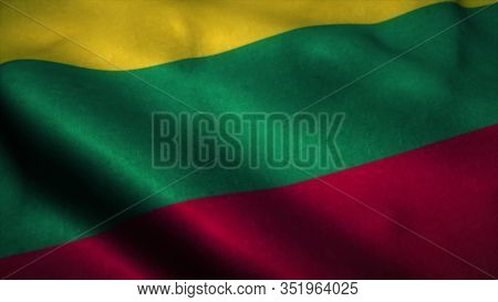 Lithuania Flag Waving In The Wind. National Flag Of Lithuania. Sign Of Lithuania. 3d Rendering.