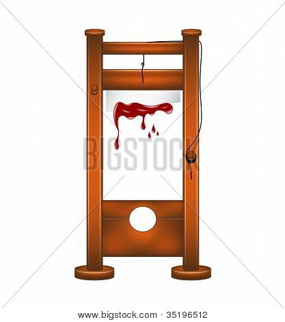 Guillotine with bloody blade