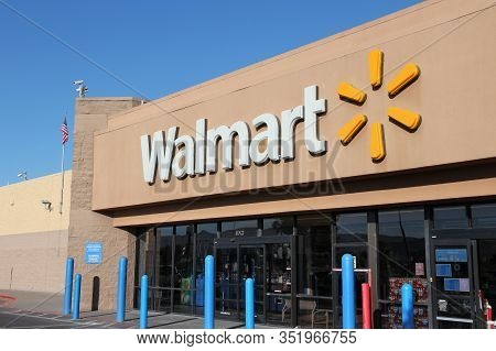 Ridgecrest, Usa - April 13, 2014: Walmart Store In Ridgecrest, California. Walmart Is A Retail Corpo