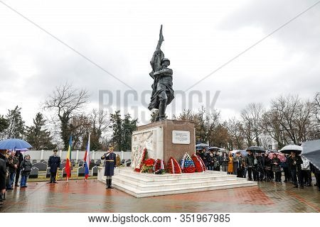 Bucharest, Romania - February 21, 2020: Soviet Soldier Statue At The Red Army Cemetery In Bucharest