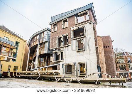 Utrecht, Netherlands - January 08, 2020. Architecture Of Bike Parking House In Downtown - Fietsensta