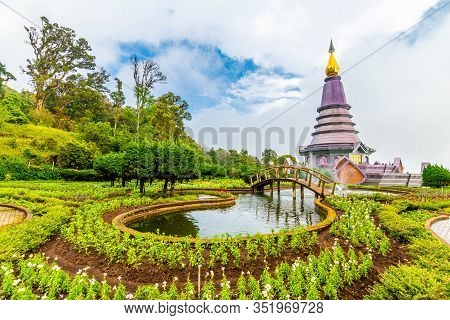 The Twin Royal Stupas Dedicated To His Majesty The King And Queen Of Thailand In Doi Inthanon Nation