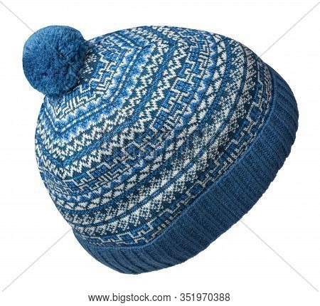 Knitted Blue White Hat Isolated On White Background.hat With Pompon .