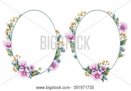Oval Frame Of Wildflowers For A Wedding. Watercolor Floral Wreaths With Pink Flowers, Mallow Leaves